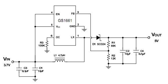 3.7v升5v(移动电源电路)