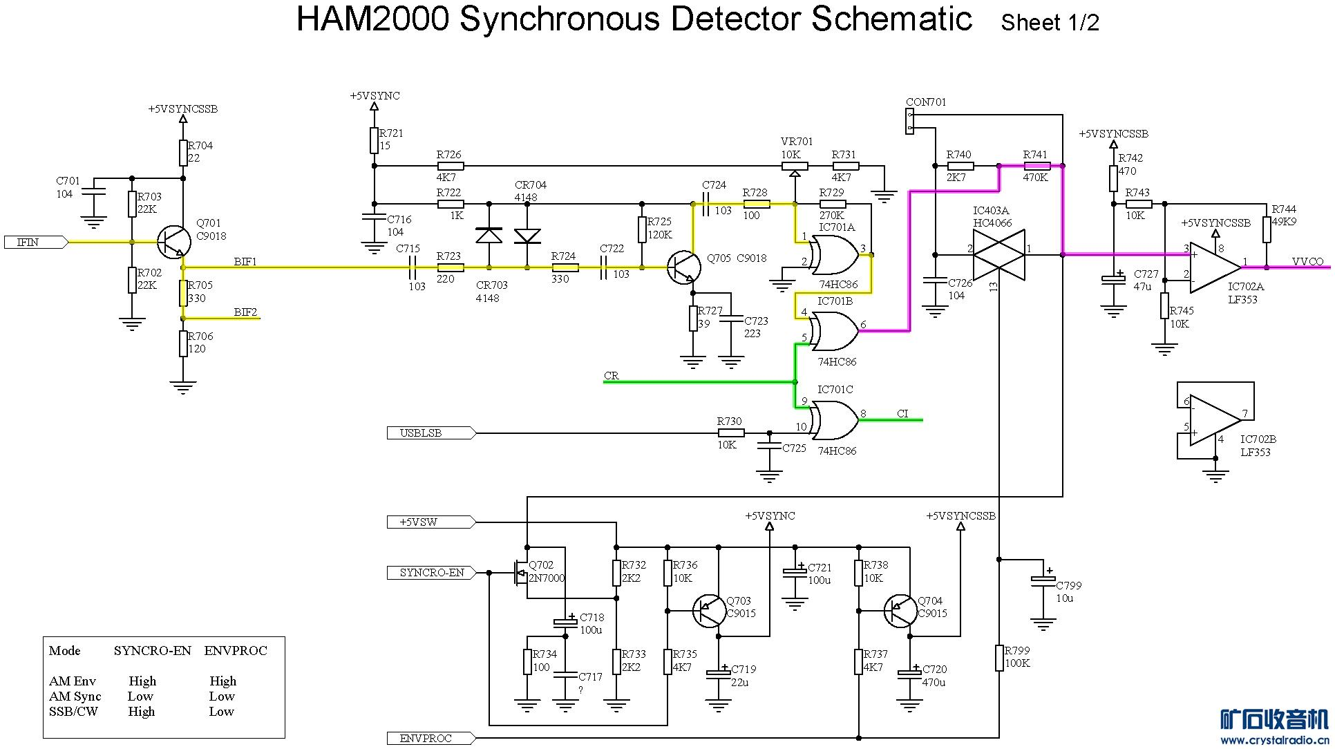 ham2000收音机同步检波电路初步分析